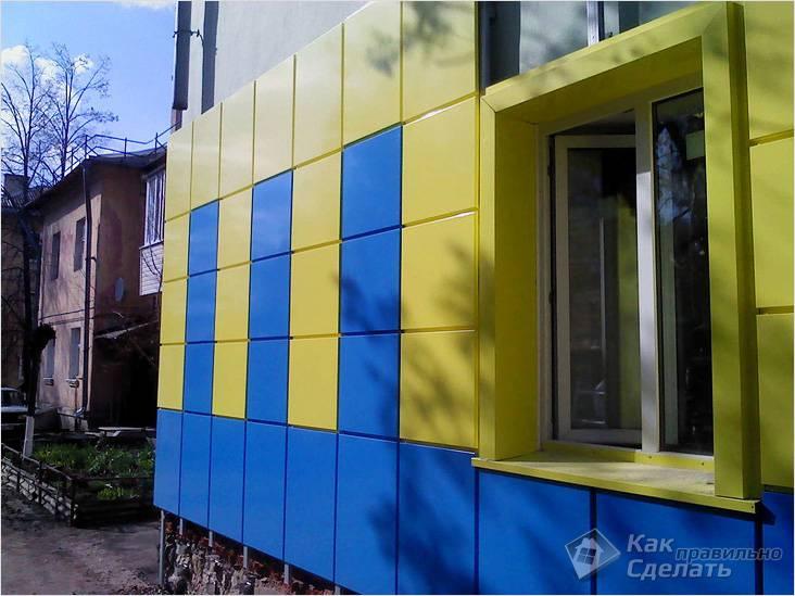 Пример вентилируемого фасада из металлокассет