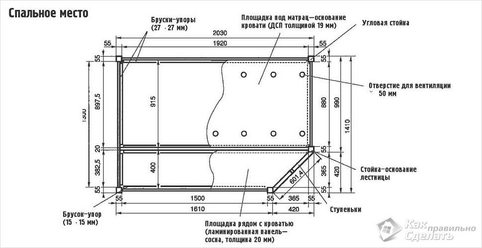 Схема спального места