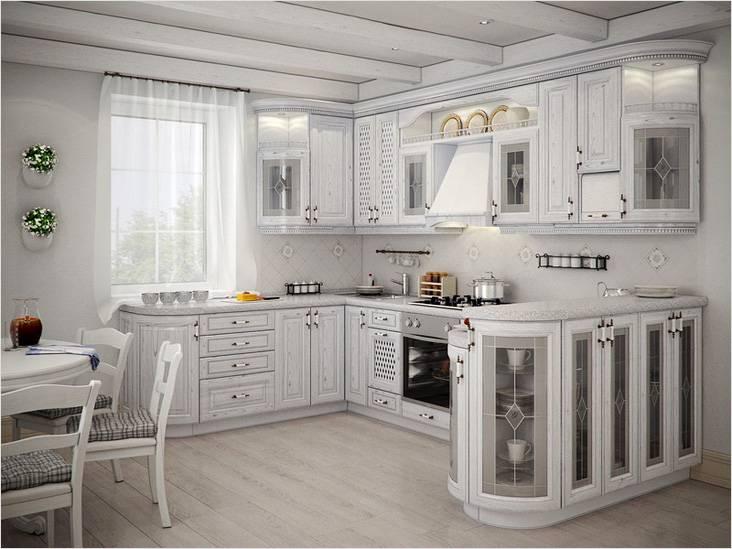 Такой кухонный гарнитур в классическом стиле подойдет для квартиры-студии