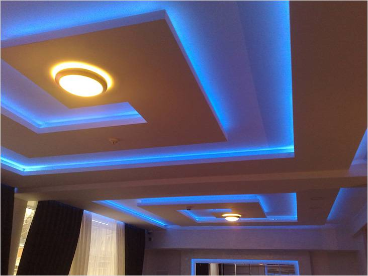 Дизайн подвесных потолков из гипсокартона для квартир