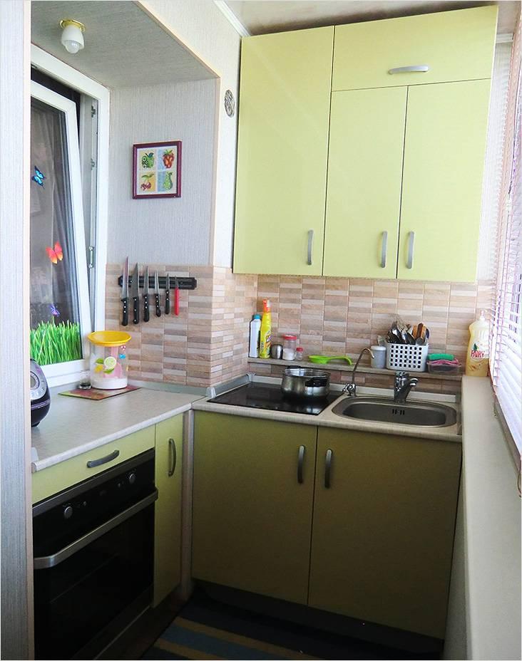 На балконе может уместиться полностью оборудованная рабочая зона кухни