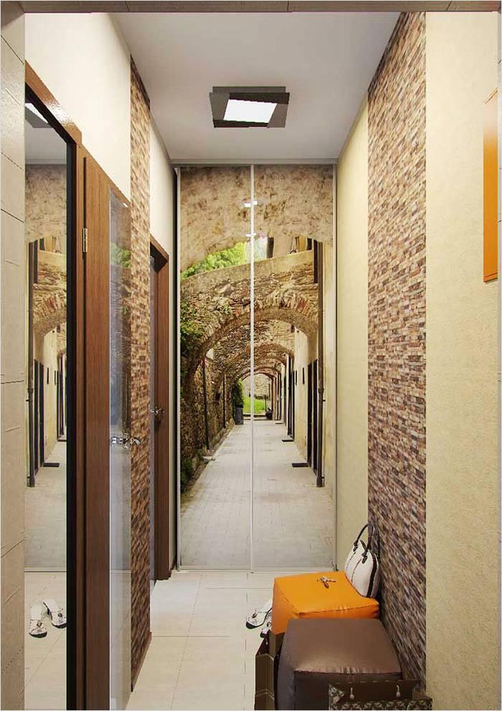 Согласитесь, очень интересно выглядит шкаф-купе в конце коридора с фотопечатью. Словно его продолжение.
