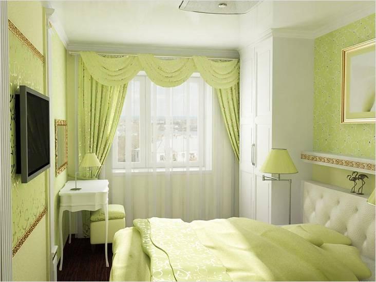 Спальня пастельного зеленого оттенка