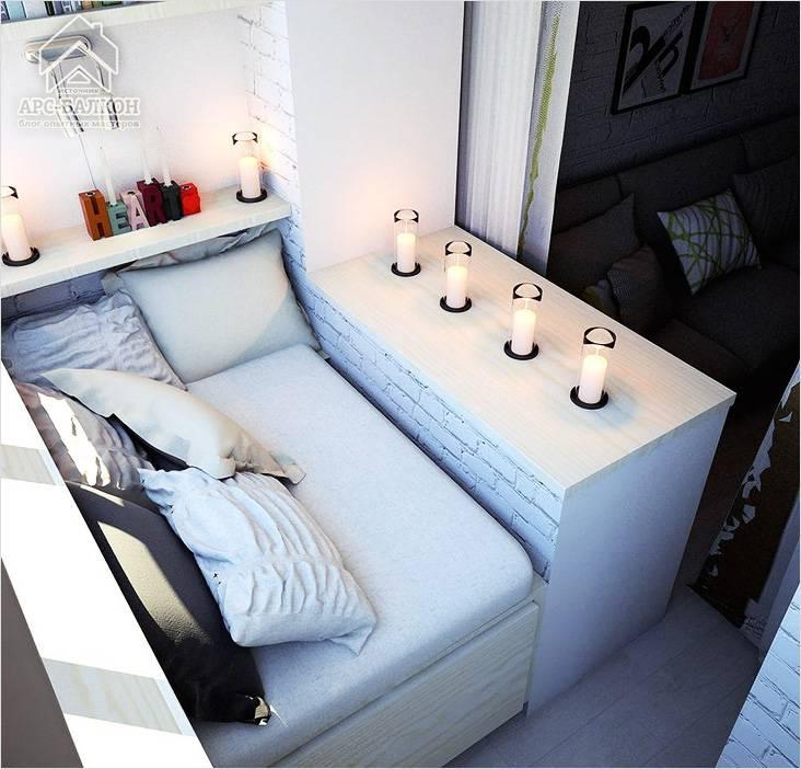 Спальню можно перенести на балкон, а освободившееся пространство использовать в других целях