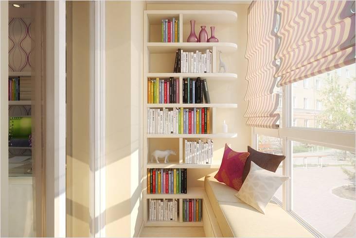Уютной библиотека на балконе станет, если сделать там место для отдыха, где можно прилечь с книгой