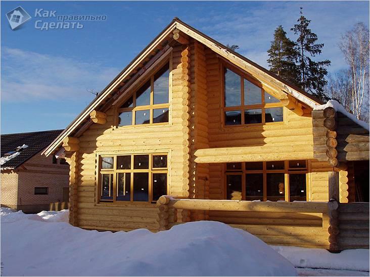 В деревянном доме зимой тепло