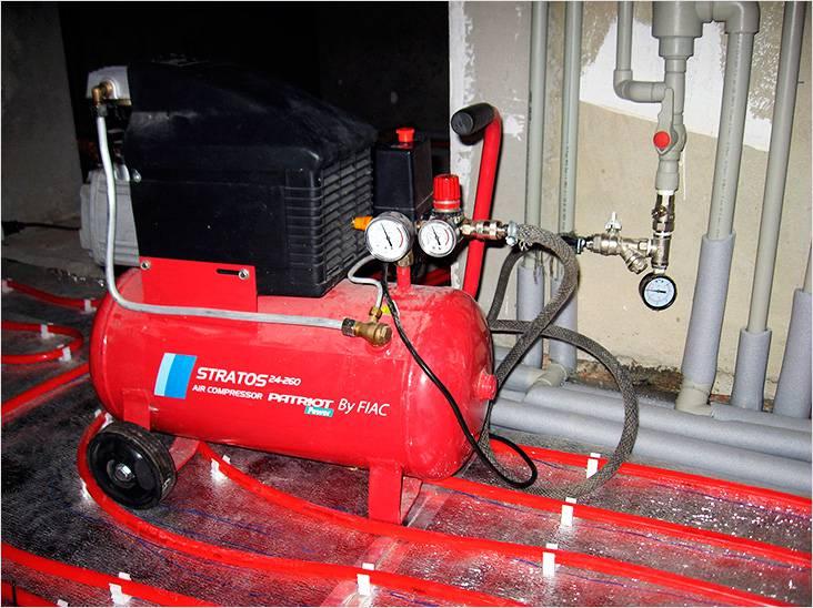Опрессовка системы отопления с помощью компрессора воздухом