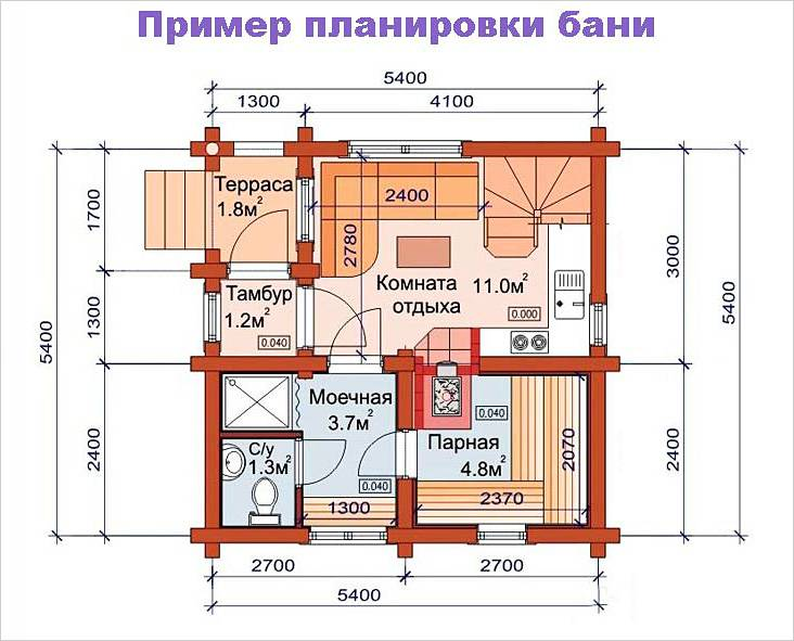 План бани 6×6 м