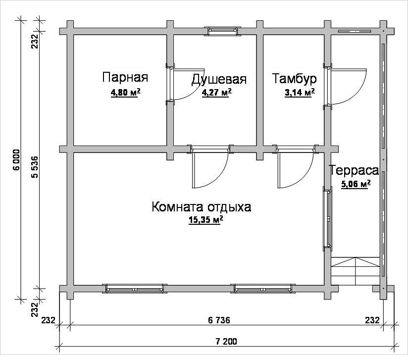 План бани 6×7,2 м