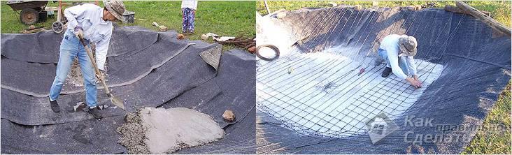 Первый слой бетона и армирование