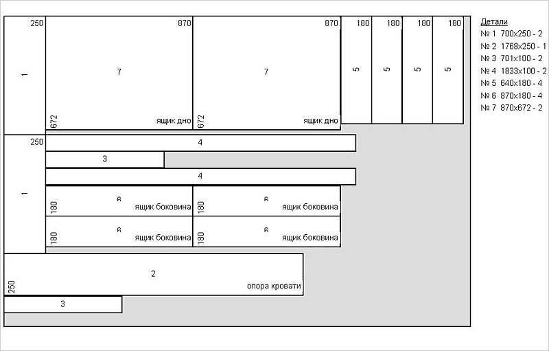 Схема раскроя листа ДСП