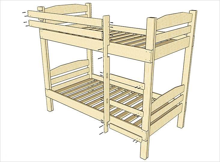 На схеме показан способ крепления деревянных деталей кровати