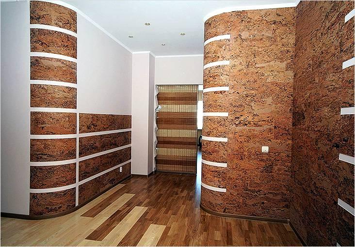 Отделка стен декоративными пробковыми панелями