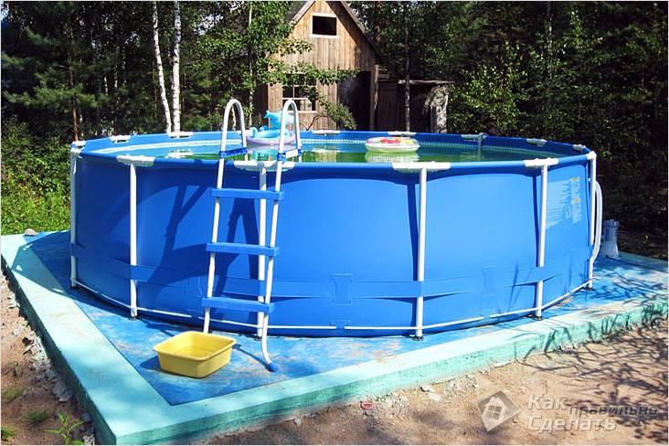 Каркасный бассейн своими руками на даче - как сделать фото