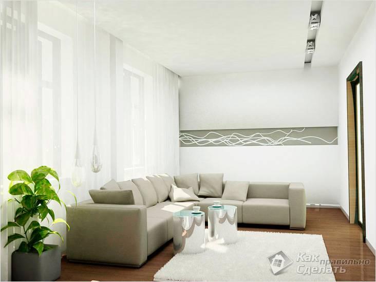 Белые потолки и стены