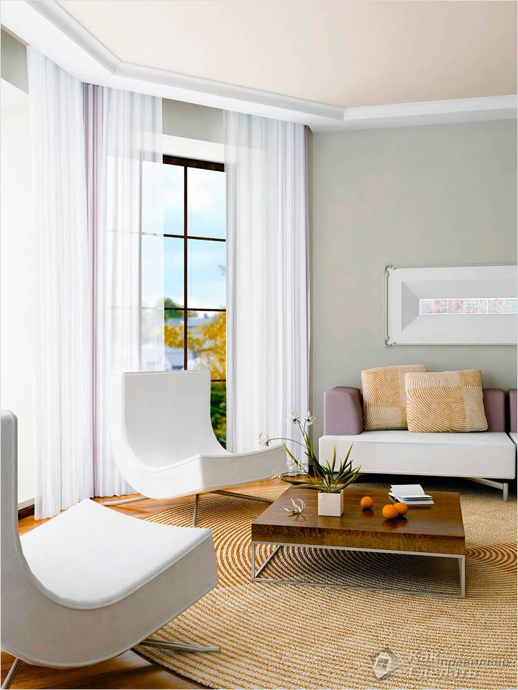 Белые потолки в комнате