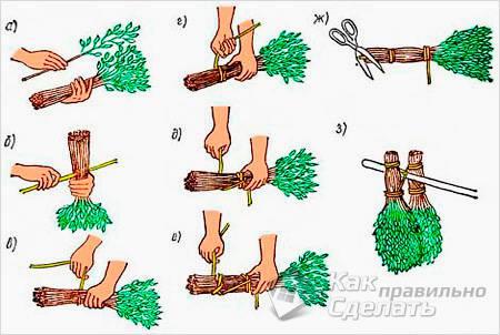 Как вязать веники