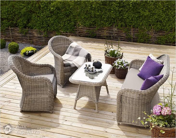 Набор плетеной мебели для сада