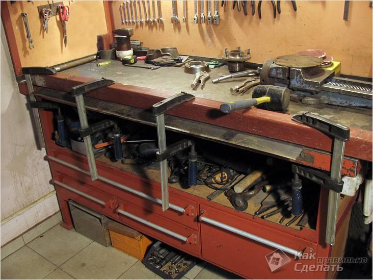 Рабочий стол в гараже фото