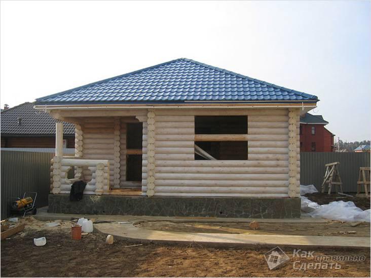 Крыша срубного дома