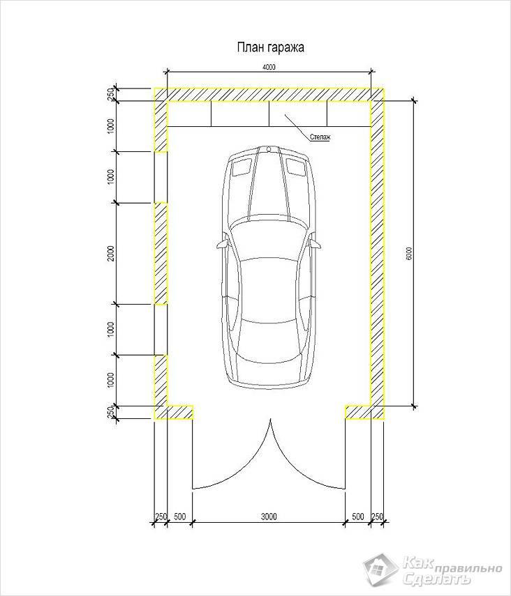 Схема гаража на одну машину