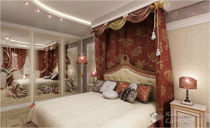 Спальня с балдахином в восточных мотивах