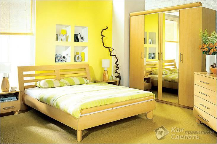 Желтый цвет в спальне