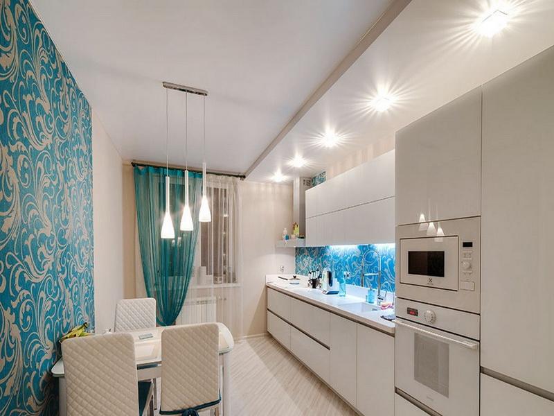 Дизайн натяжного потолка на кухне -100 лучших вариантов дизайна